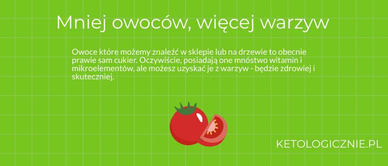 infografika mniej owoców więcej warzyw